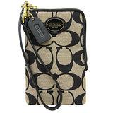 COACH 圓標L型拉鍊織布掛式卡夾手機包(卡其黑)