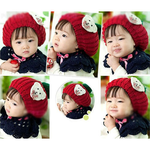 【PS Mall】秋冬季小孩帽韓國嬰兒童帽純手工兒童小熊毛線帽  (B104)