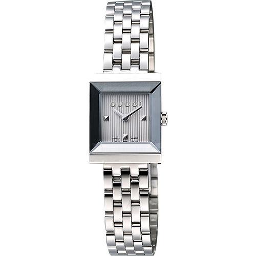 GUCCI G-Frame 系列小錶徑女仕腕錶-銀 YA128402