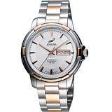ENICAR 航行經典日曆機械腕錶-銀/雙色版 168-50-335G
