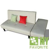 【喬立爾】最愛傢俱 新米蘭多功能皮沙發2人+側凳 - 淺駝色
