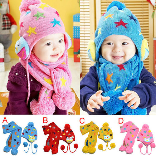 彩色星星款((帽子+圍巾))保暖二件組 (現貨+預購)