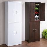 居家輕收納多用途四門十層鞋櫃-胡桃木色