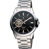 Olympianus 奧柏 都會鏤空時尚機械腕錶-黑/銀 990-082AMS
