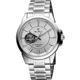 Olympianus 奧柏 都會鏤空時尚機械腕錶-銀 990-082AMS