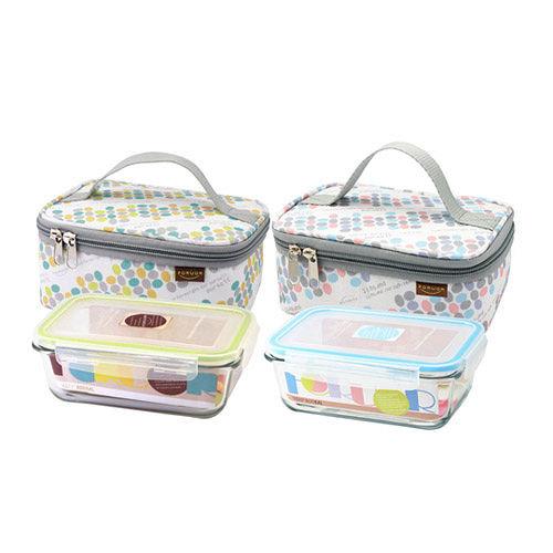 法國FOR U玻璃保鮮盒提袋組 點馨 樂活  FU~H800MK二盒二袋 組