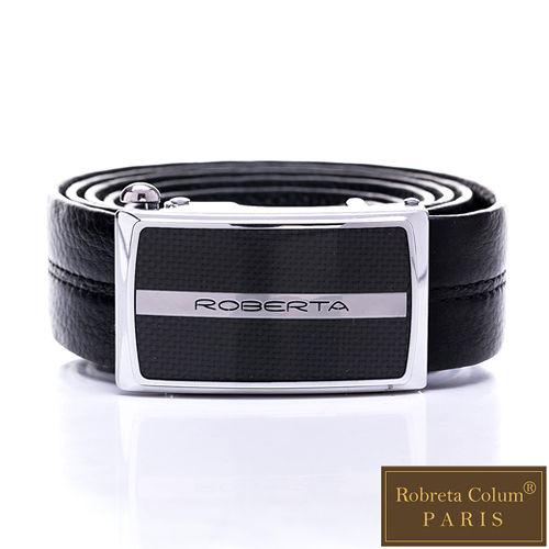 Roberta Colum - 精準時尚款碳纎自動金屬滑扣黑牛皮皮帶