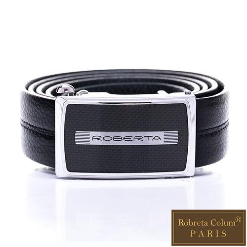 Roberta Colum - 完美工藝款碳纎自動金屬滑扣黑牛皮皮帶