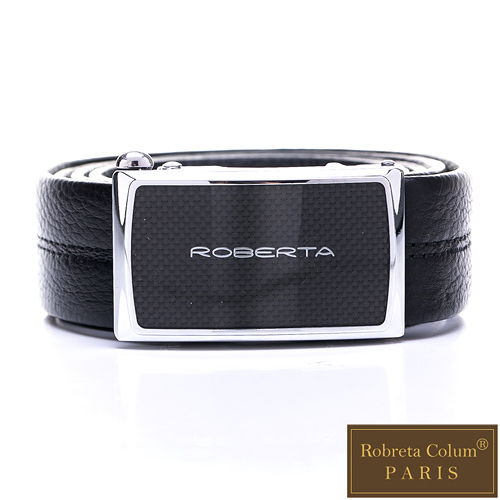 Roberta Colum - 低調品牌款自動金屬滑扣黑牛皮皮帶