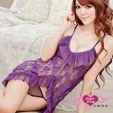 【天使霓裳】柔美吸引力 性感網紗連身睡衣(紫)