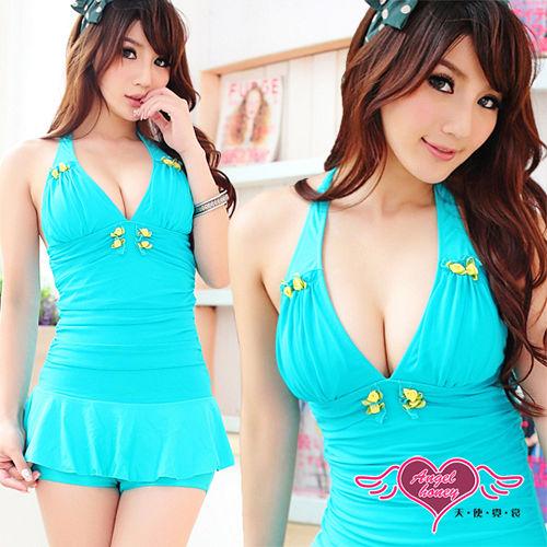 【天使霓裳】繽紛馬卡龍 可愛深V 兩件式泳衣(綠)