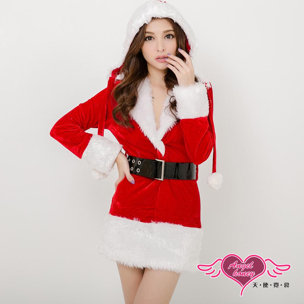【天使霓裳】聖誕女郎 可愛連身絨布聖誕服 角色服(紅F)
