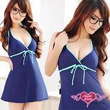 【天使霓裳】氣質風格 連身式泳裝 泳衣(藍)