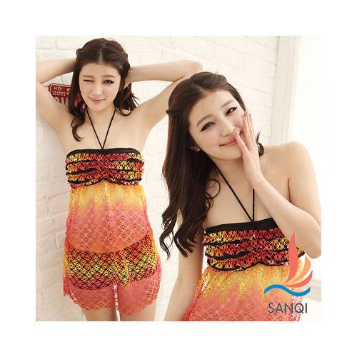 【SANQI三奇】花漾摩登 兩件式比基尼泳衣(橘)