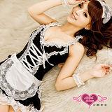 【天使霓裳】純愛俏女僕 蕾絲滾邊女僕裝角色服 四件組(黑白)