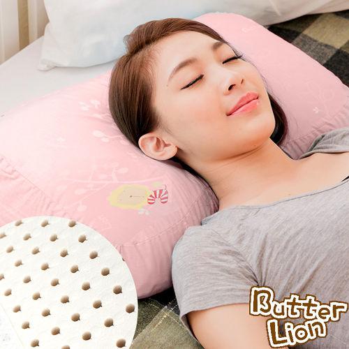 ~奶油獅~馬來西亞 純天然蝶型乳膠枕~附精梳純棉布 兒童、女性  粉紅