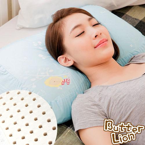 【奶油獅】馬來西亞進口純天然蝶型乳膠枕-附精梳純棉布(兒童、女性適用)水藍