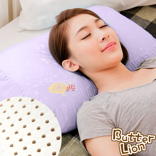 ~奶油獅~馬來西亞 純天然蝶型乳膠枕~附精梳純棉布 兒童、女性  幻紫