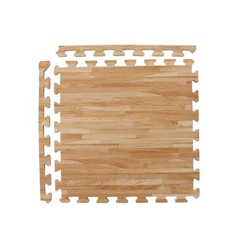 【新生活家】EVA耐磨拼花木紋地墊-淺色45x45x1.2cm12入(附邊條)