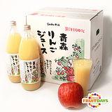 【鮮果日誌】日本青森縣100%蘋果汁(6入玻璃瓶裝/1000ml)