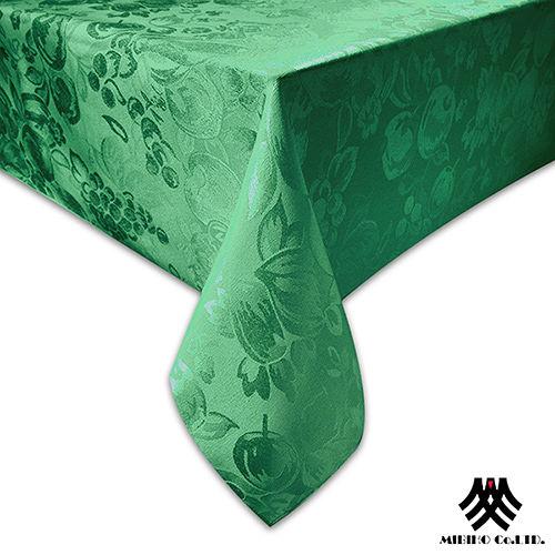 《M.B.H─水果花園》緹花防潑水桌巾(深綠)(140x180cm)