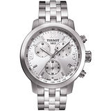 TISSOT PRC 200 競速三眼計時腕錶-銀 T0554171103700