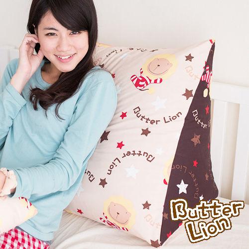 【奶油獅】正版授權-台灣製造~搖滾星星三角靠墊-米色(一入)