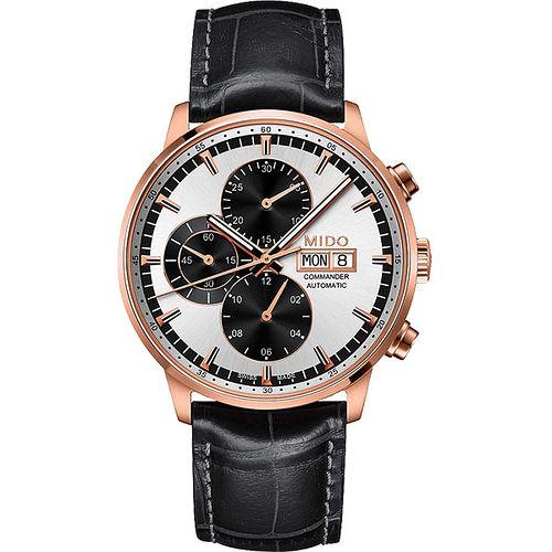 MIDO Commander 指揮官系列計時機械腕錶-銀x玫塊金/黑 M0164143603159