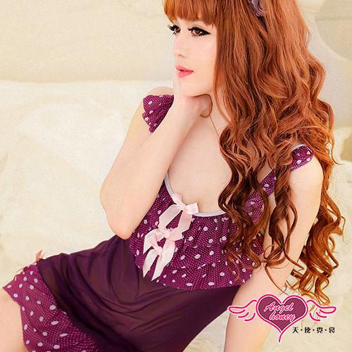 【天使霓裳】戀紫嬌姬 性感柔紗連身睡衣(紫)