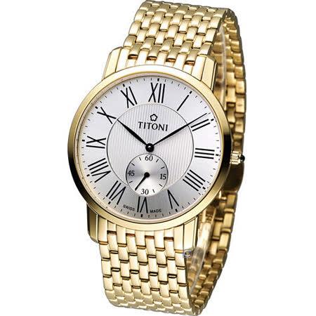 梅花 TITONI Slenderline 優雅情人時尚紳士錶 TQ52917G-375