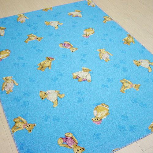 【范登伯格】新潮愛莉絲藍色活潑可愛熊熊進口地毯小款-100X150cm