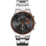 SKAGEN 經典系列 【鈦】時尚三眼計時腕錶-鐵灰 SKW6076