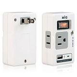 MIG 節能分接器附USB充電(紅色) SL-219U1