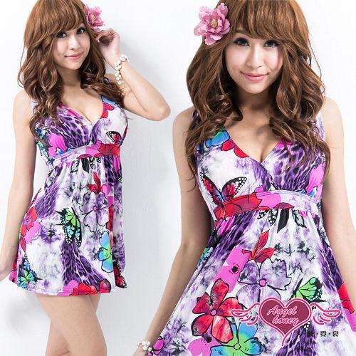 【天使霓裳】花蝶圖樣 兩件式加大尺碼泳衣(紫)