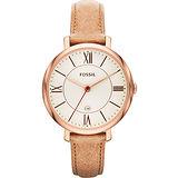 FOSSIL 羅馬風尚仕女腕錶-銀x卡其 ES3487