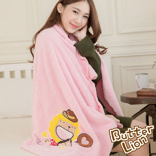 奶油獅 台灣製造 開纖紗柔膚吸水/保暖毛毯-星星牛仔(粉紅)