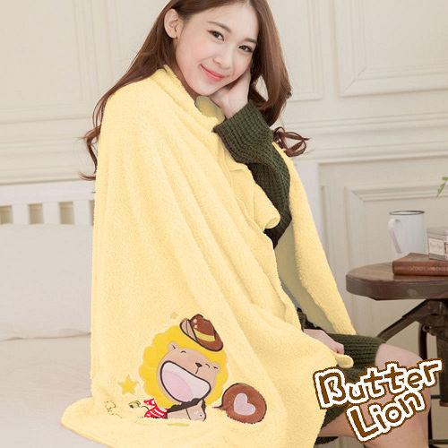 奶油獅 台灣製造 開纖紗柔膚吸水/保暖毛毯-星星牛仔(暖黃)