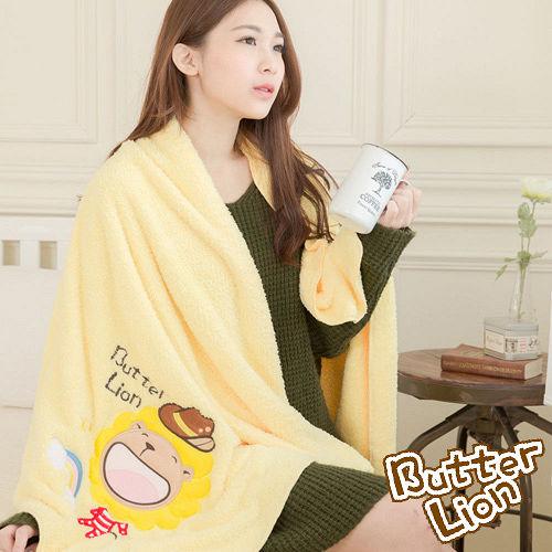 奶油獅 台灣製造 開纖紗柔膚吸水/保暖毛毯-彩虹牛仔(暖黃)