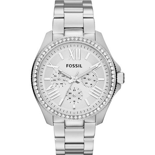 FOSSIL Cecile 羅馬時尚日曆晶鑽腕錶-銀 AM4481