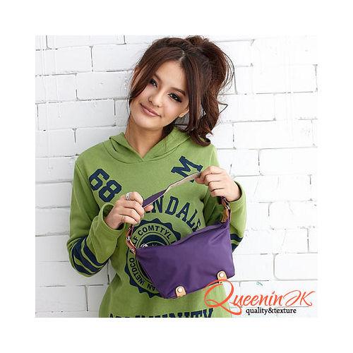 DF【Queenin】時尚休閒少女輕盈袖珍肩背包-樂活紫