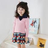 【春秋新款】圓點蝴蝶結((粉色))甜美長袖洋裝