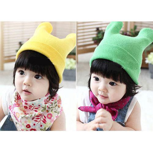 【PS Mall】韓版男女寶寶嬰兒童 保暖糖果色牛角帽(B118)