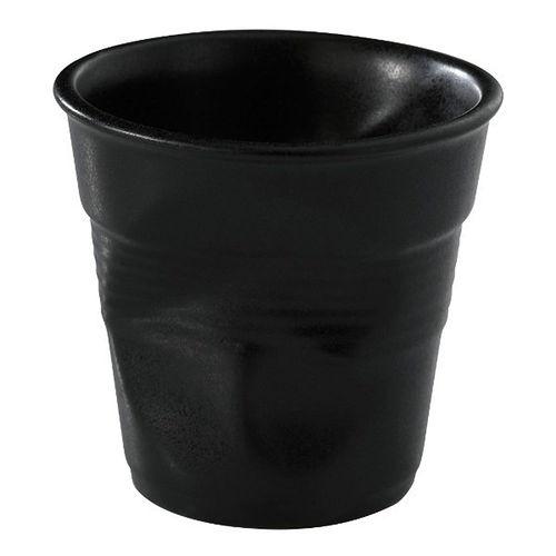 【法國REVOL】 FRO 黑色陶瓷皺折杯80cc