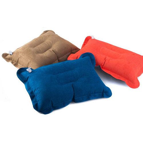 PUSH!登山戶外旅遊用品舒適麂皮絨充氣枕頭 頭枕