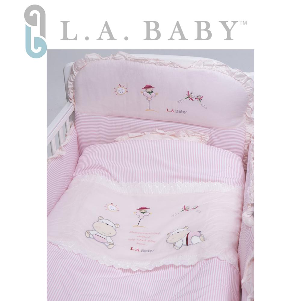 L.A. Baby 美國加州貝比 田趣風光MIT純棉七件式寢具組- M (藍色/粉色)