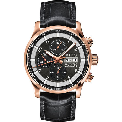 MIDO Multifort 先鋒系列三眼計時機械腕錶-黑x玫塊金 M0056143606252