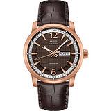 MIDO Great Wall 天文台認證長城系列機械腕錶-咖啡x玫塊金 M0196313629700