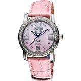 Ogival 羅馬雅典真鑽女仕機械腕錶-粉貝x粉 361ADD-1MS皮