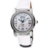 Ogival 羅馬典雅真鑽機械腕錶-珍珠貝x白 361ADD-1MS皮