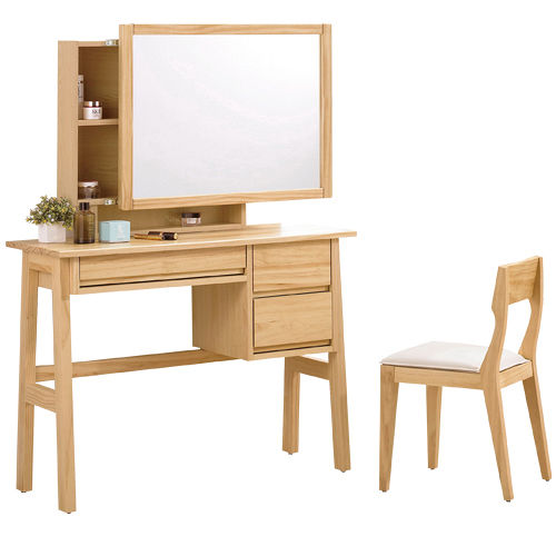 HAPPYHOME 達拉3.3尺實木化妝台005-3(含椅子)